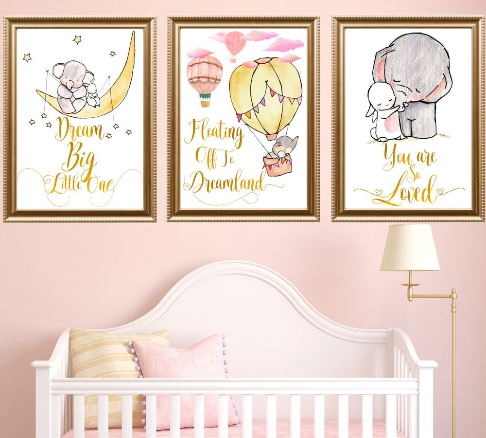 Elephant And Bunny Rabbit Nursery Framed Art Prints Set Baby Room Gold Grey