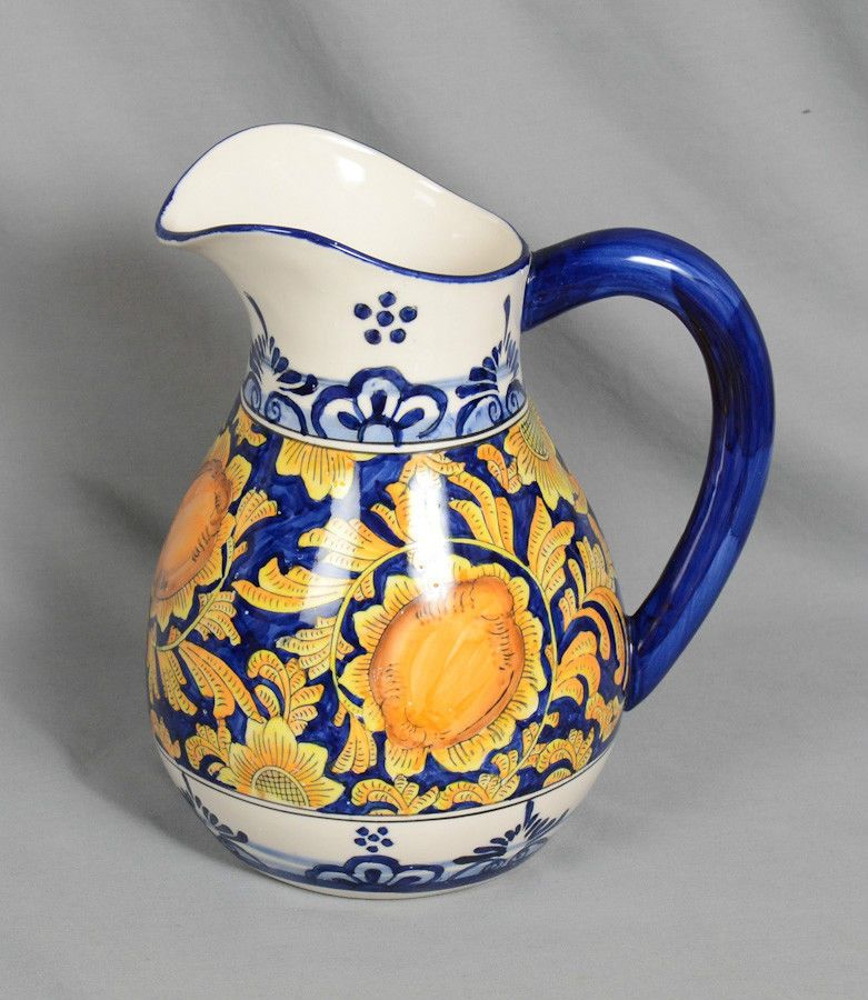 """Godinger and Co. Hand Painted Ceramic Water Pitcher 10"""" Height Holds 96 Ounces"""