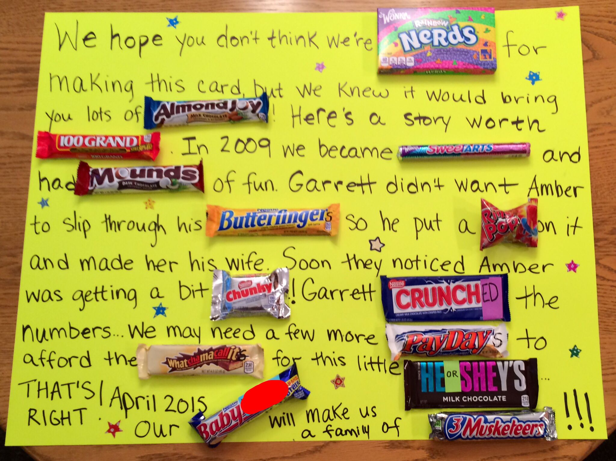 Pregnancy announcement candy bar poster Birthday – Baby Announcement Candy