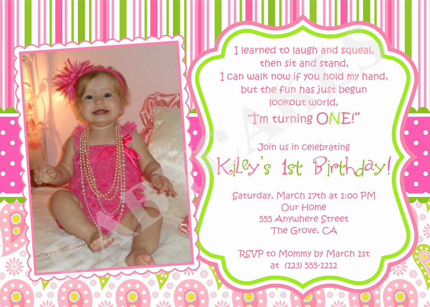 5st Birthday Invitation Message Luxury First Birthday Invitation