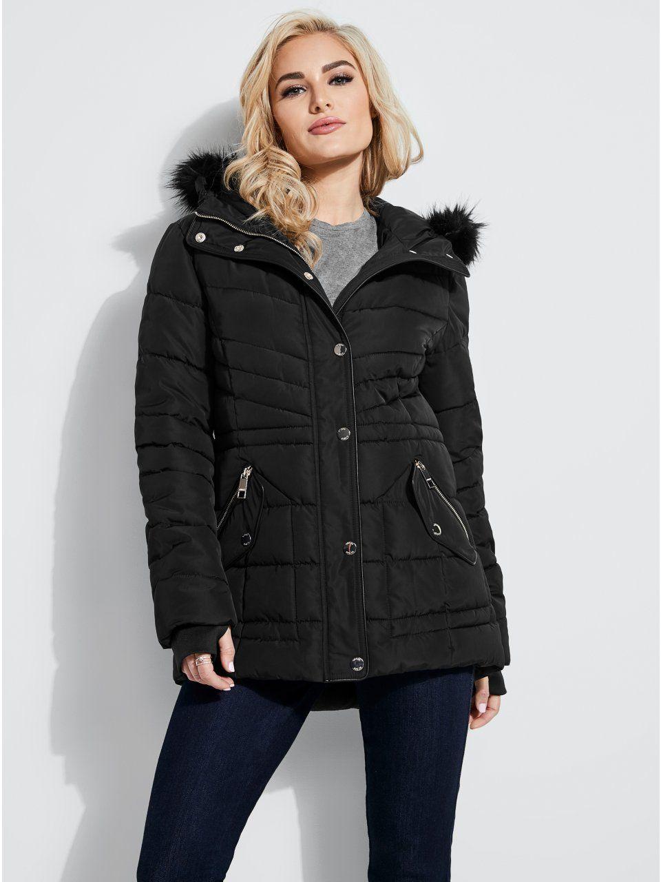 T Tahari Women/'s Gwen Faux Fur Trim Hooded Coat Short Jacket Black