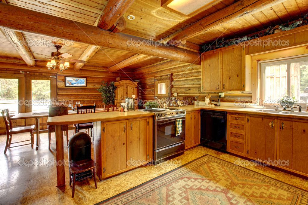 Wood Cabin Kitchen log cabins inside kitchen | log cabin wood kitchen with antique