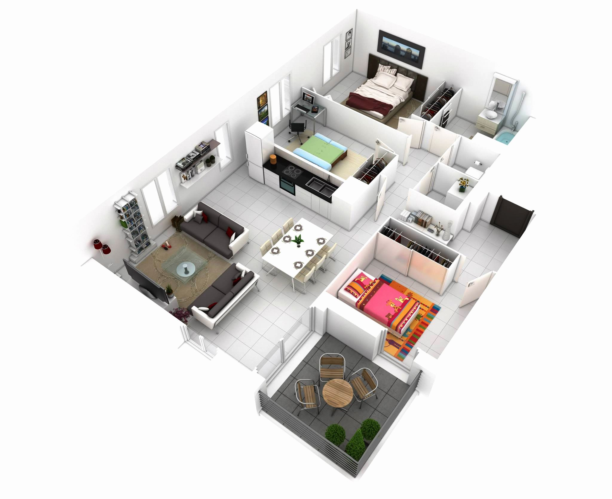 Small Three Bedroom House Plans Lovely 25 More 3 Bedroom 3d Floor Plans Small House Design Three Bedroom House Plan Bedroom House Plans