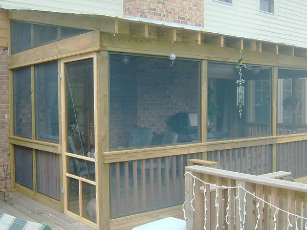 Screen porch addition framing additions and general for Shed roof screened porch