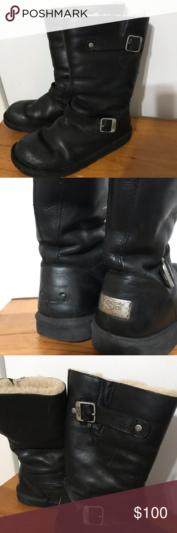 12456446c06 UGG Sutter Black Leather Boots 9 Shearling Moto Warm, durable Ugg ...