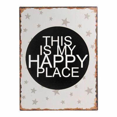 Schild Happy Place Metall grau ca B:30 x L:40 cm