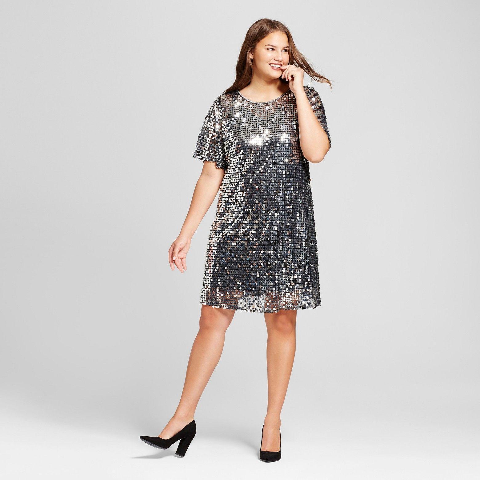 9b8e573d5e9bc Women s Plus Size Short Sleeve Sequin Dress - Xhilaration™   Target ...