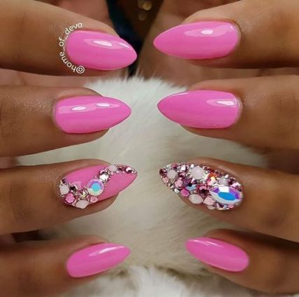 50 ideas nails short almond pink nails in 2020