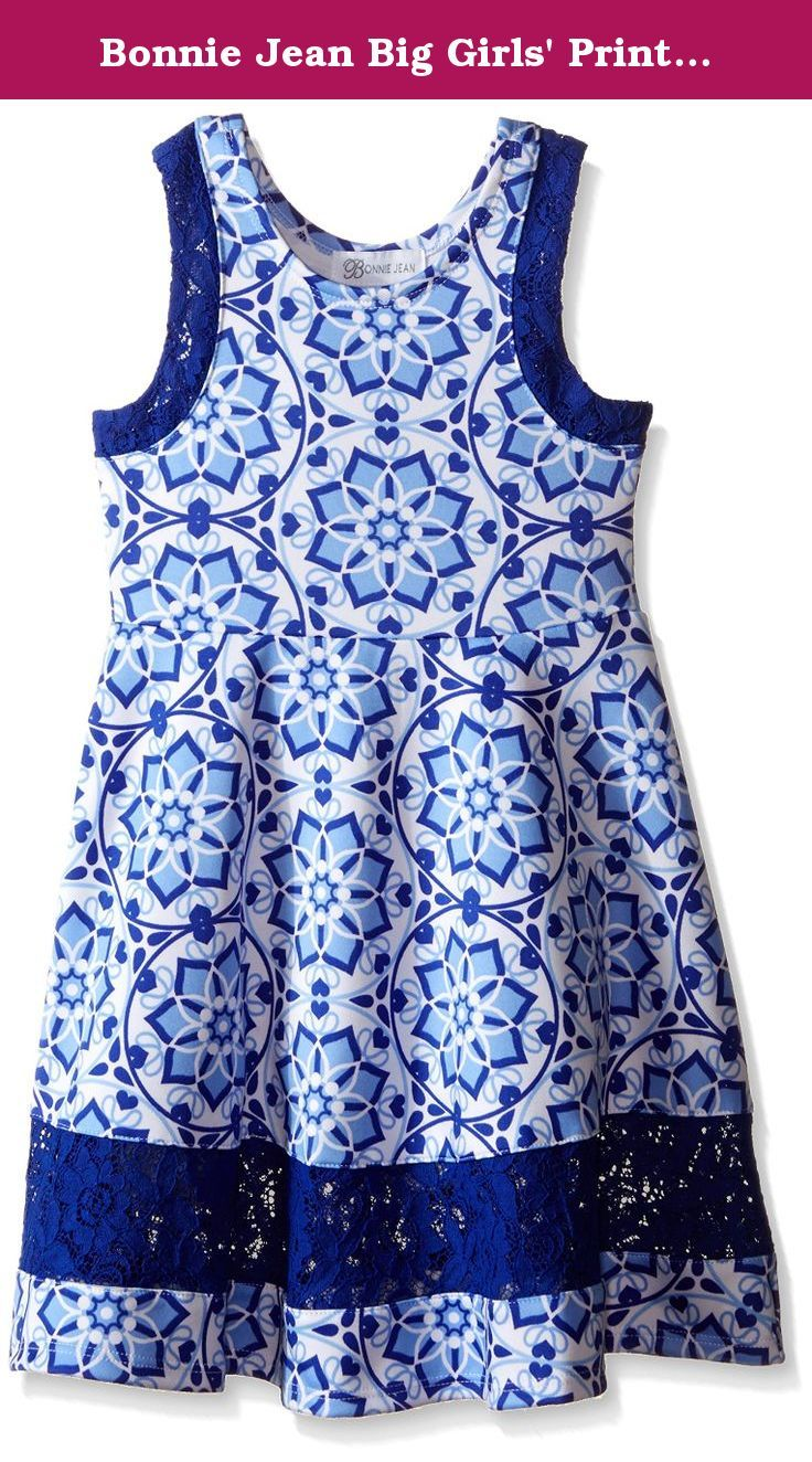 Bonnie Jean Big Girls' Printed Scuba Skater Dress, Blue, 16. Sleeveless novelty print scuba skater dress.