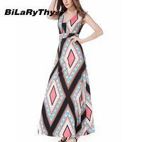 BiLaRyThy Women's Summer Bohemian Long Dress Square Collar Sleeveless High Waist Geometric Printed Maxi Dresses
