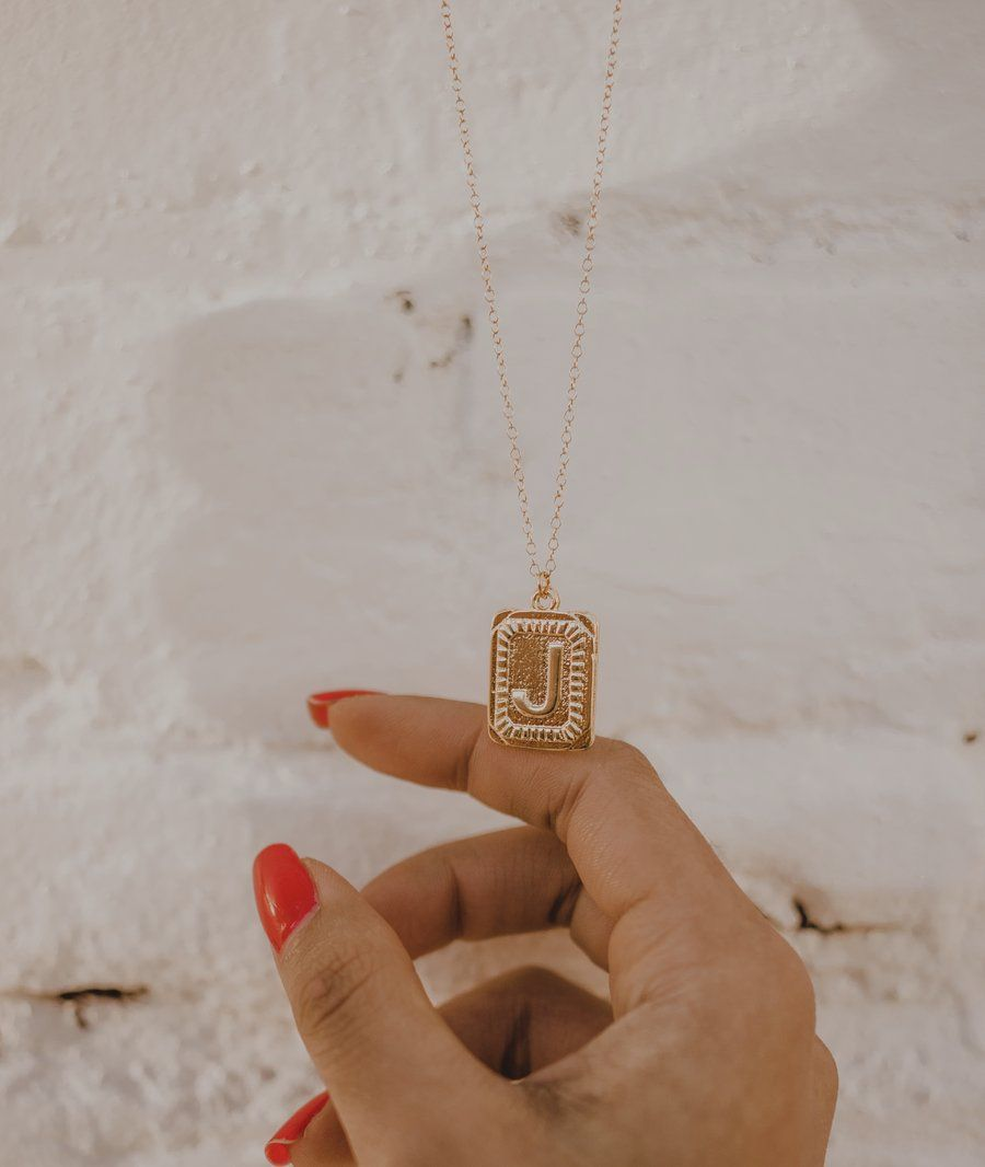 Squared Necklace Personalized monogram necklace