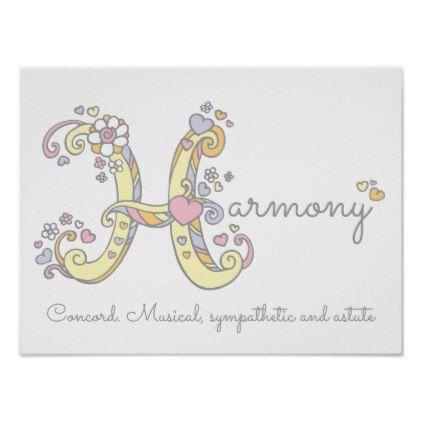 H monogram art harmony girls name meaning poster girl gifts h monogram art harmony girls name meaning poster girl gifts special unique diy gift idea negle Images