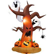 halloween inflatables 8 tall inflatable dead tree w ghost on top pumpkins on - Blow Up Halloween Decorations