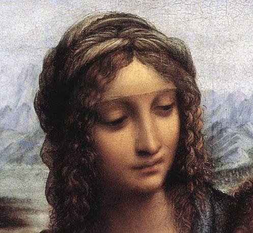 Leonardo Da Vinci, Madonna dei Fusi (Madonna of the Yarnwinder), after 1510, detail.