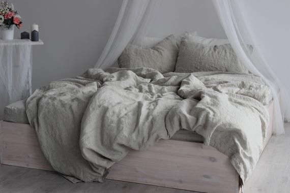 Photo of 100% Linen Duvet Cover Eco Organic Bedding, Twin Full Queen King California size Duvet Comforter Cover Natural Colors Flax Organic Linen