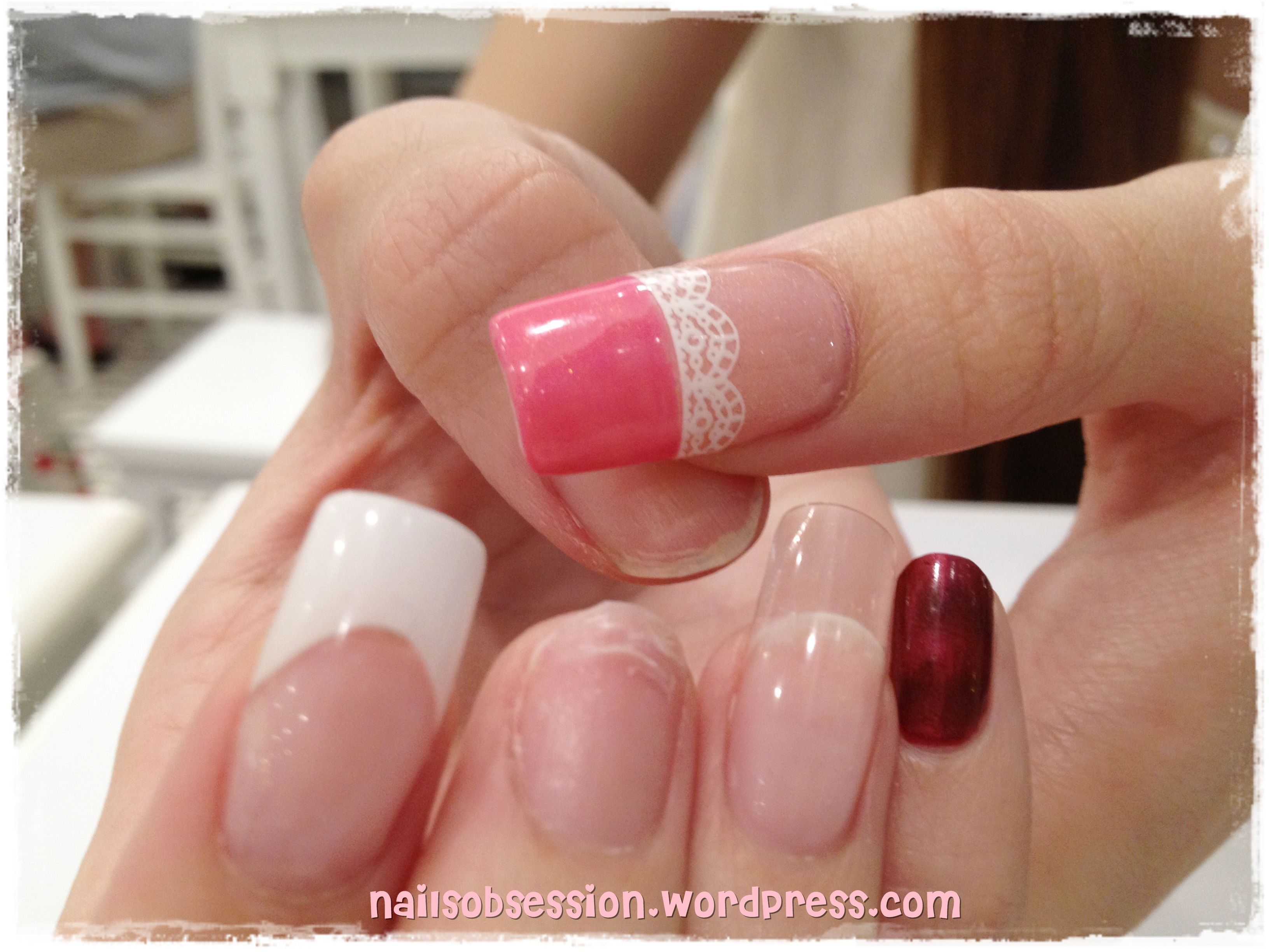 pink #lace #white | nails | Pinterest | Gel vs acrylic nails