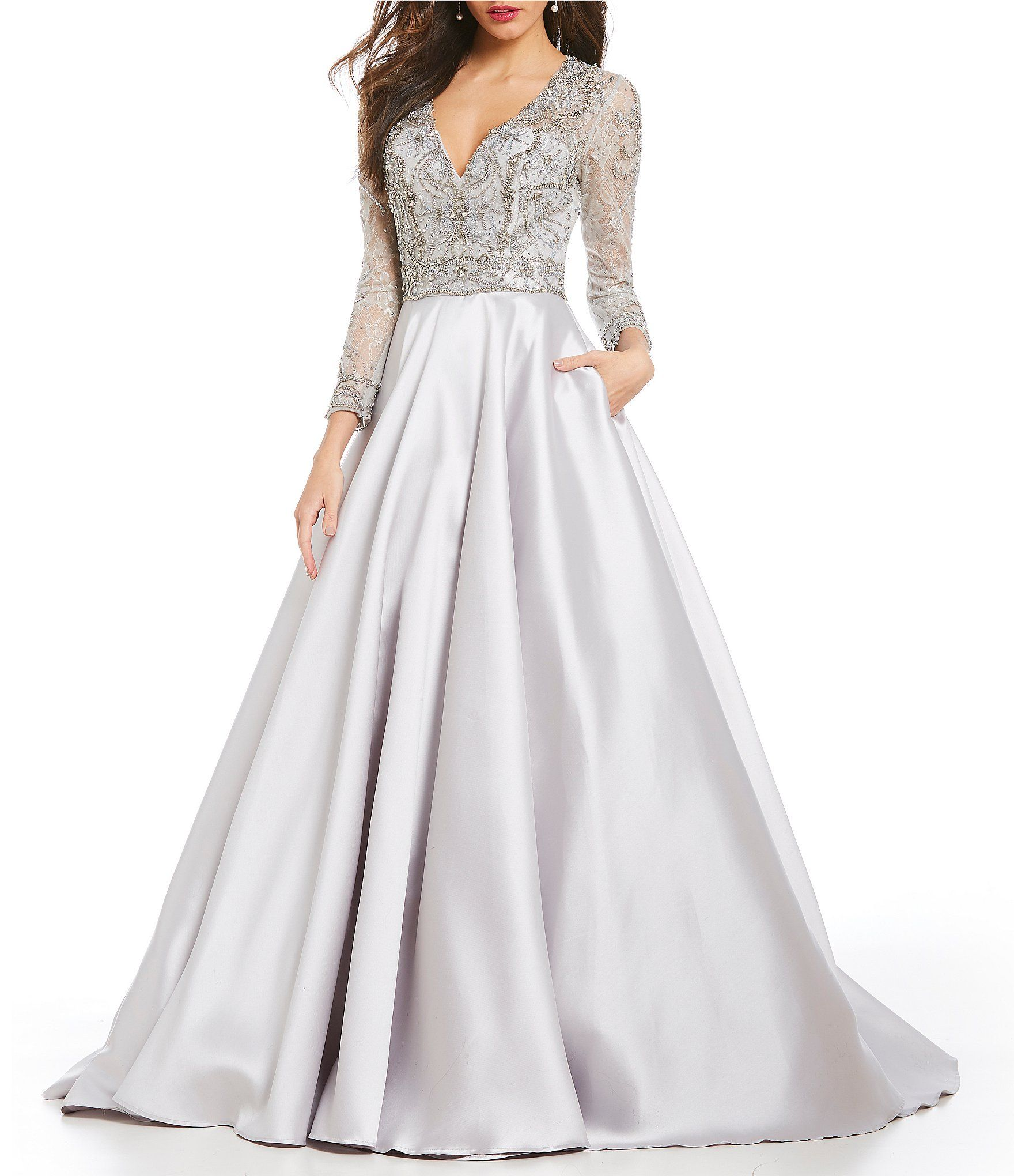 9fb0f23fe10 Terani Couture V-Neck Beaded Ball Gown  Dillards