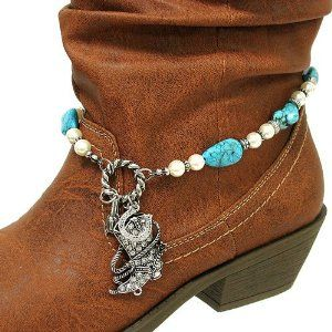 """Fashion Jewelry ~Turquoise Silver Beads Boot Chain with Assorted Pearl Like Beads, Natural Rock Like Stones and a Crystal Accented Western Charm (Style Boot Charm 002b 24) Variety Gift Shop Fashion Jewelry. $12.95. ** BOOT NOT INCLUDED **. Size: Total length: 15.5"""" L     Charms: Various sizes     Color: Turquoise, Silver     Style: Boot chain with assorted pearl like beads, natural rock like stones and a crystal accented western charm.. 1 pc"""