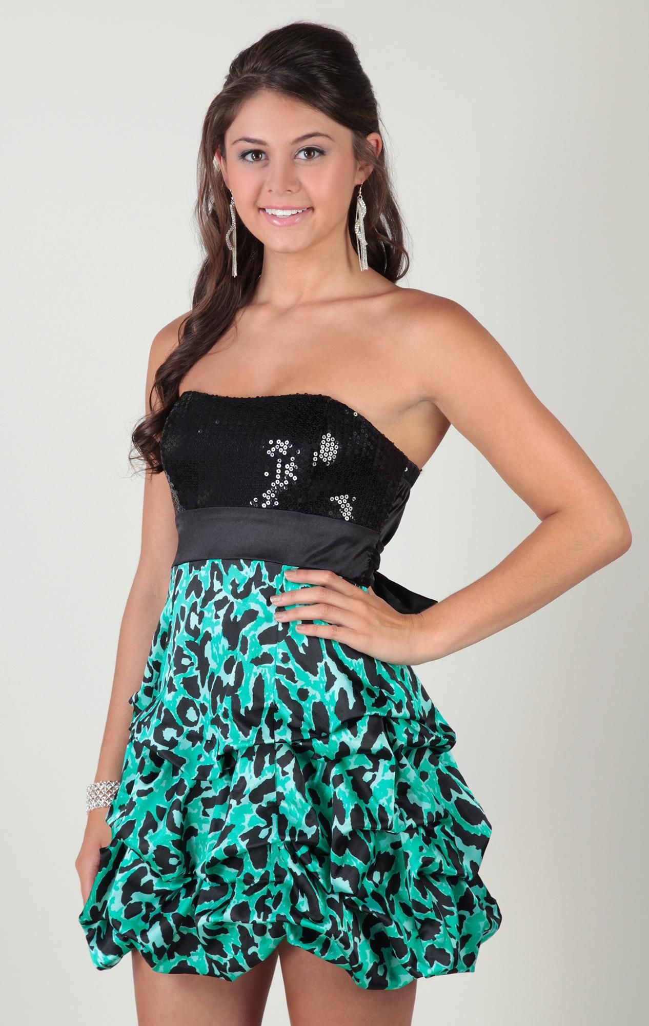 strapless dress with sequin bodice and cheetah print skirt ...