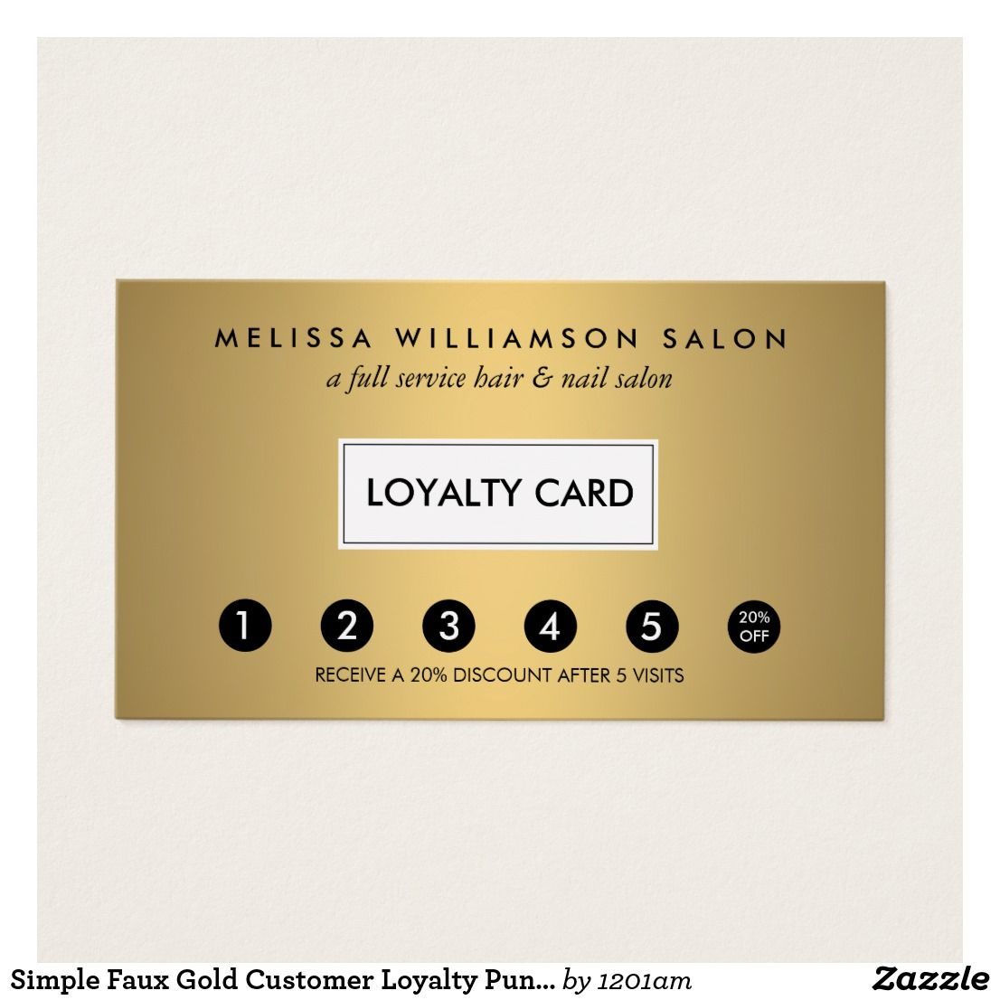 Faux Gold Customer Loyalty Punch Card