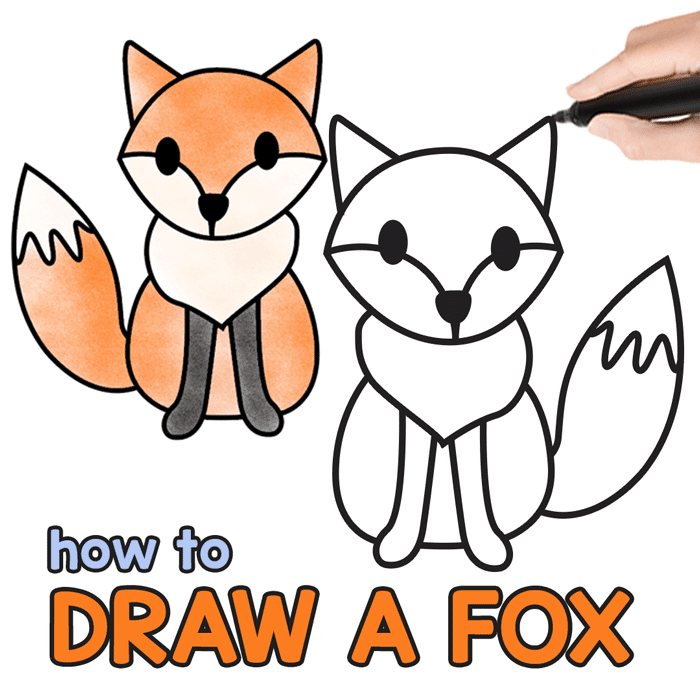 How To Draw A Fox Step By Step Fox Drawing Tutorial Easy Peasy And Fun Fox Drawing Tutorial Easy Drawings Fox Drawing