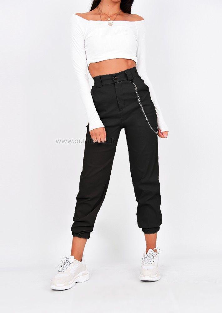 Pantalon Cargo Noir Avec Chaine Con Imagenes Pantalones Estilo Cargo Ropa Pantalones Cargo Mujer