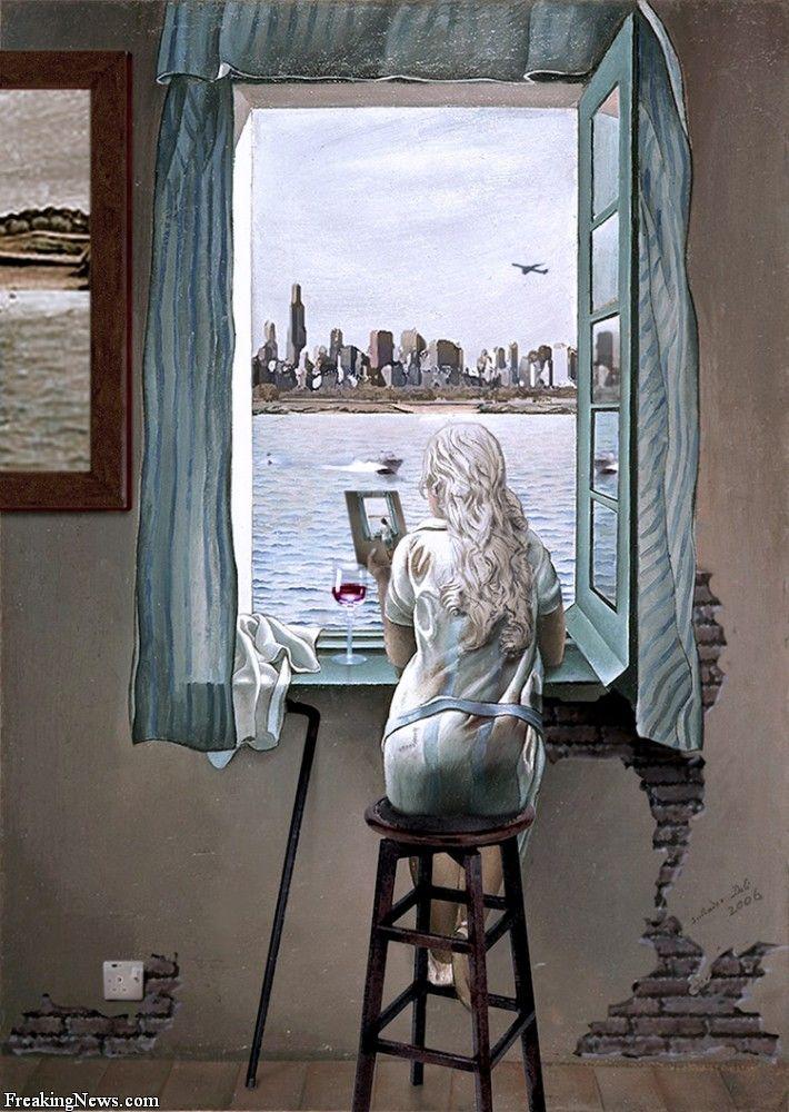 Salvador Dali Muchacha en la ventana pintado en 1925. Está hecho ...