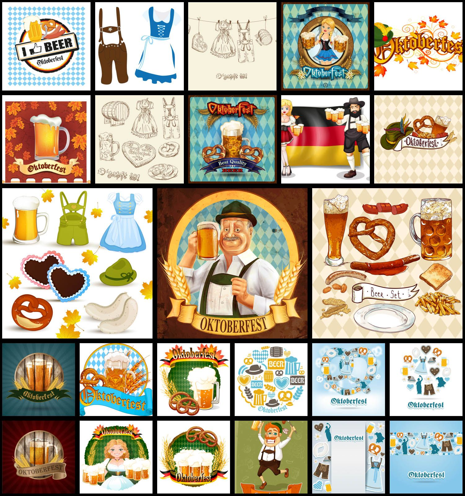 Set of 25 vector Oktoberfest backgrounds, clip arts and