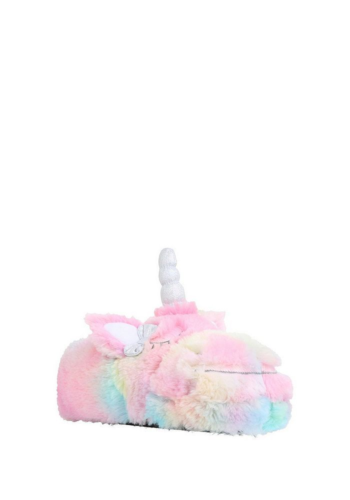 Tesco direct: F&F Rainbow Unicorn Faux Fur Slippers | christmas in ...