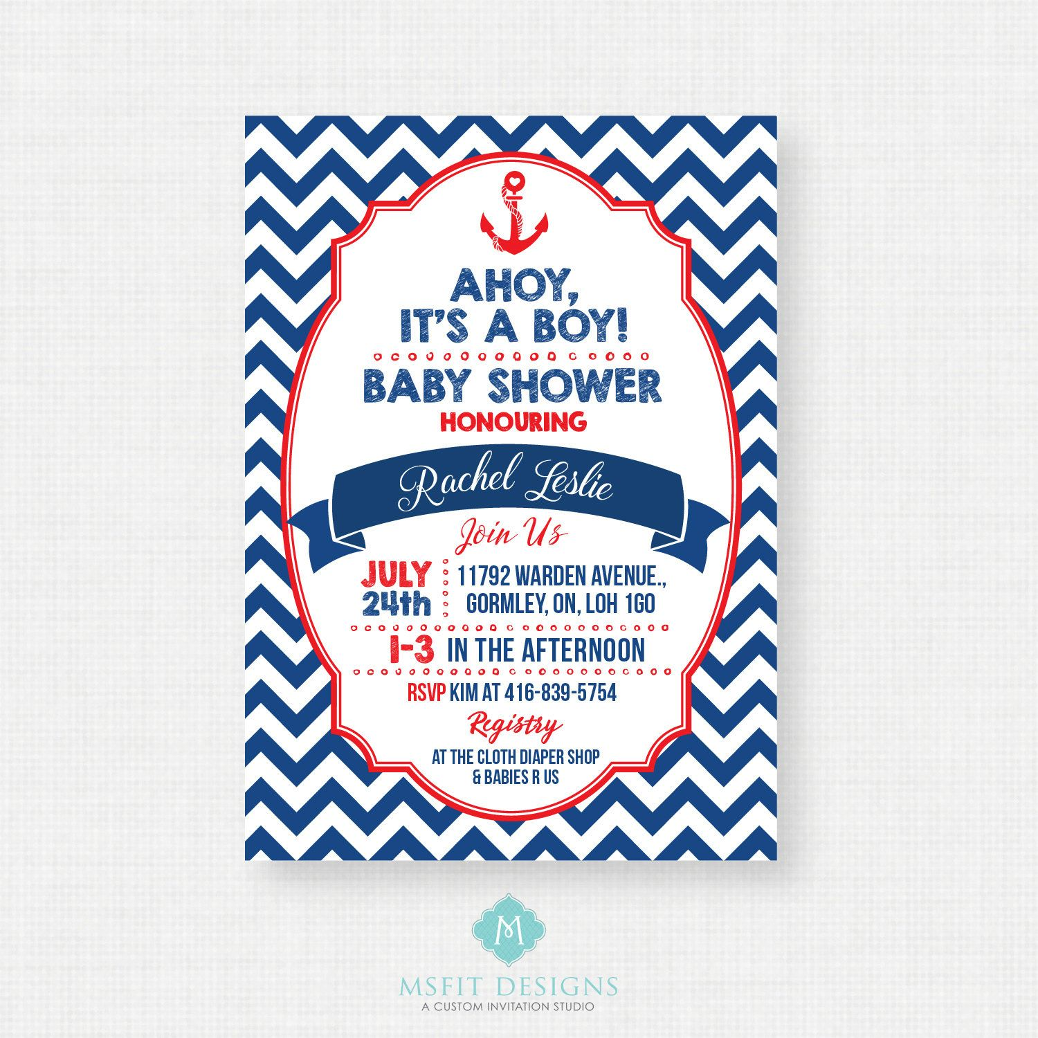 Nautical Baby Shower Invitation Ahoy Its A Boy Navy and Red