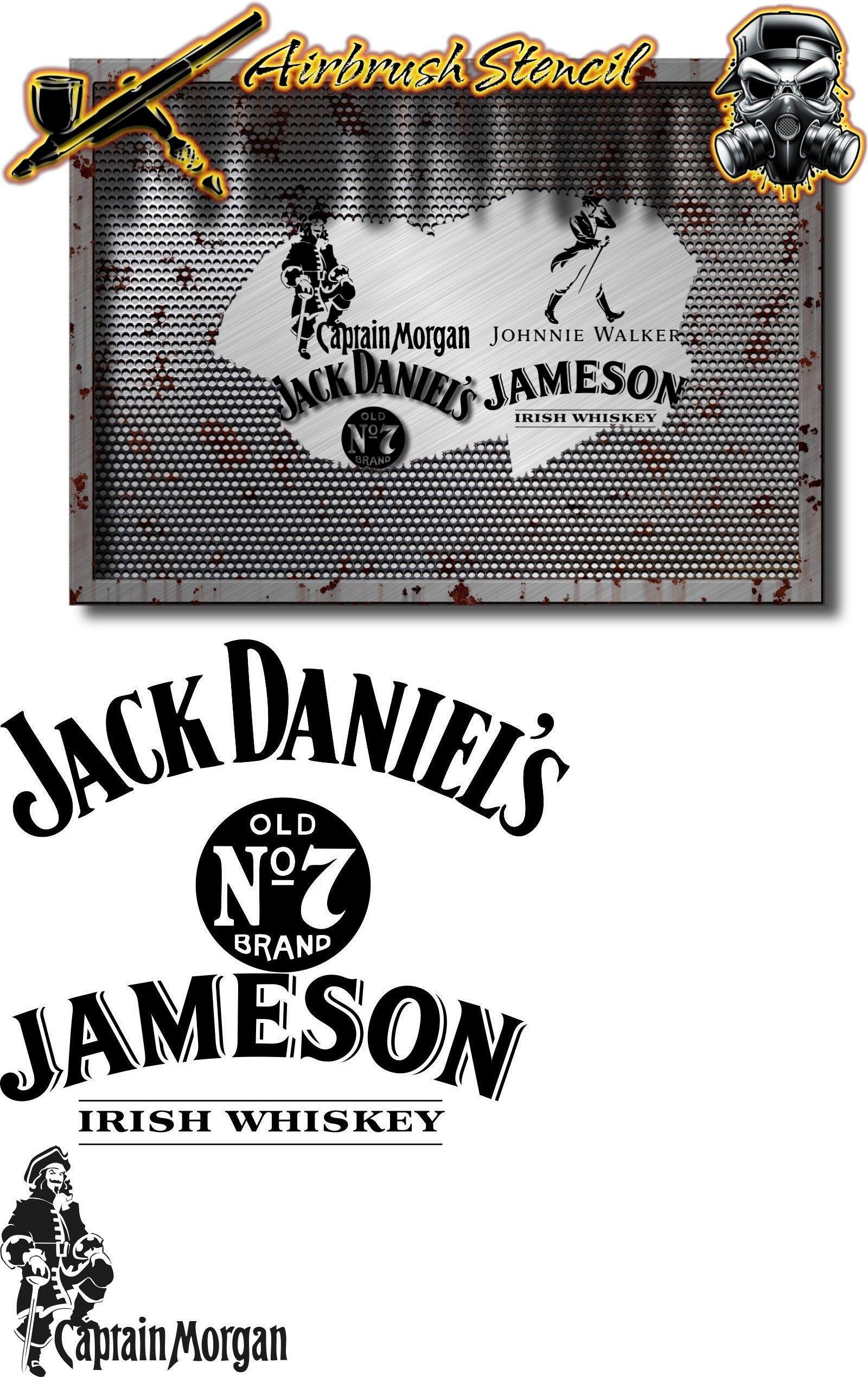 Stencils and Templates 183185: Jack Daniels, Jameson, Captain Morgan ...