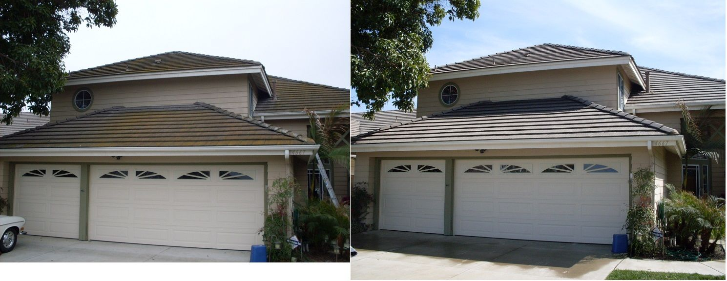 No More Green Roof Back To Its Original Luster Pressure Washing Services Pressure Washing Roof Cleaning