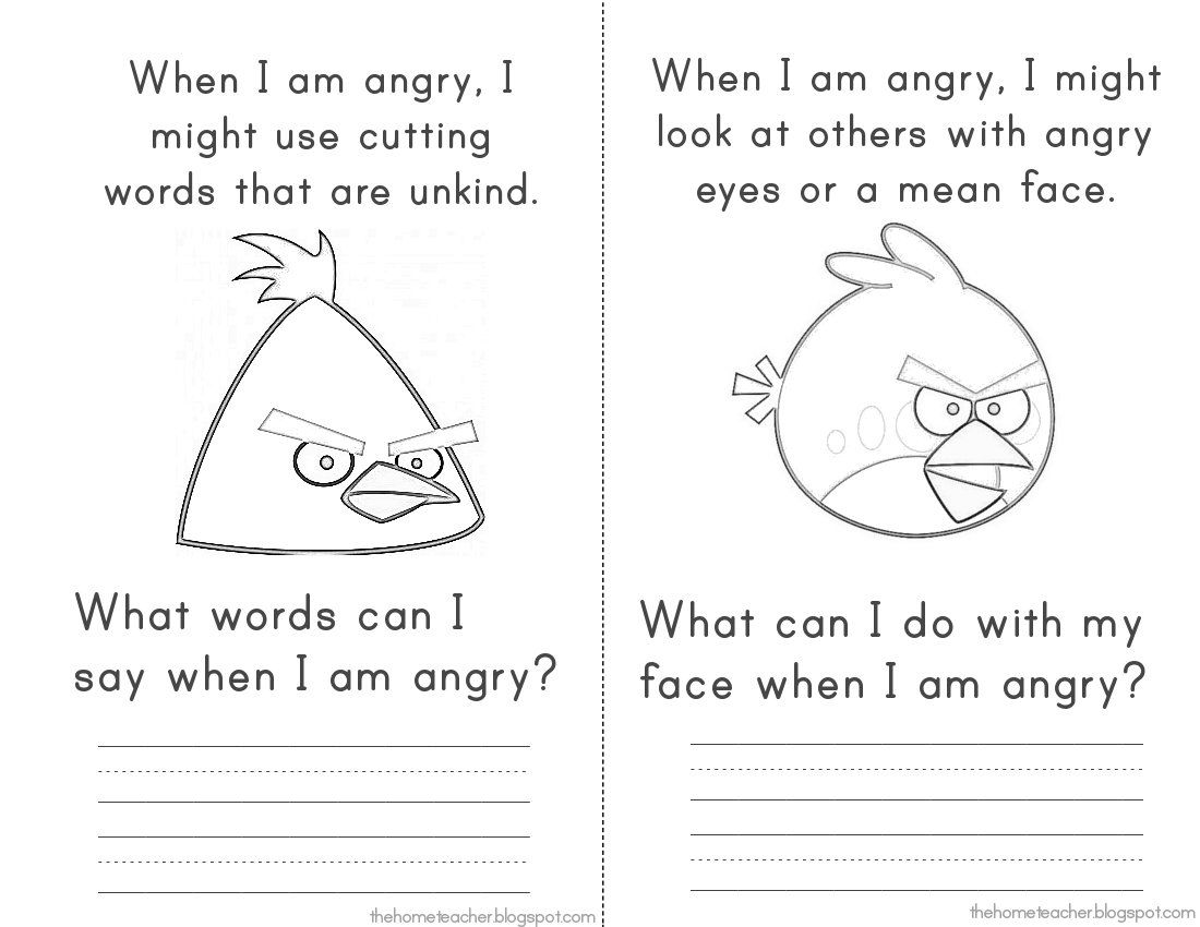 Angry Birds Anger Feelings workbook. This was an excellent social ...