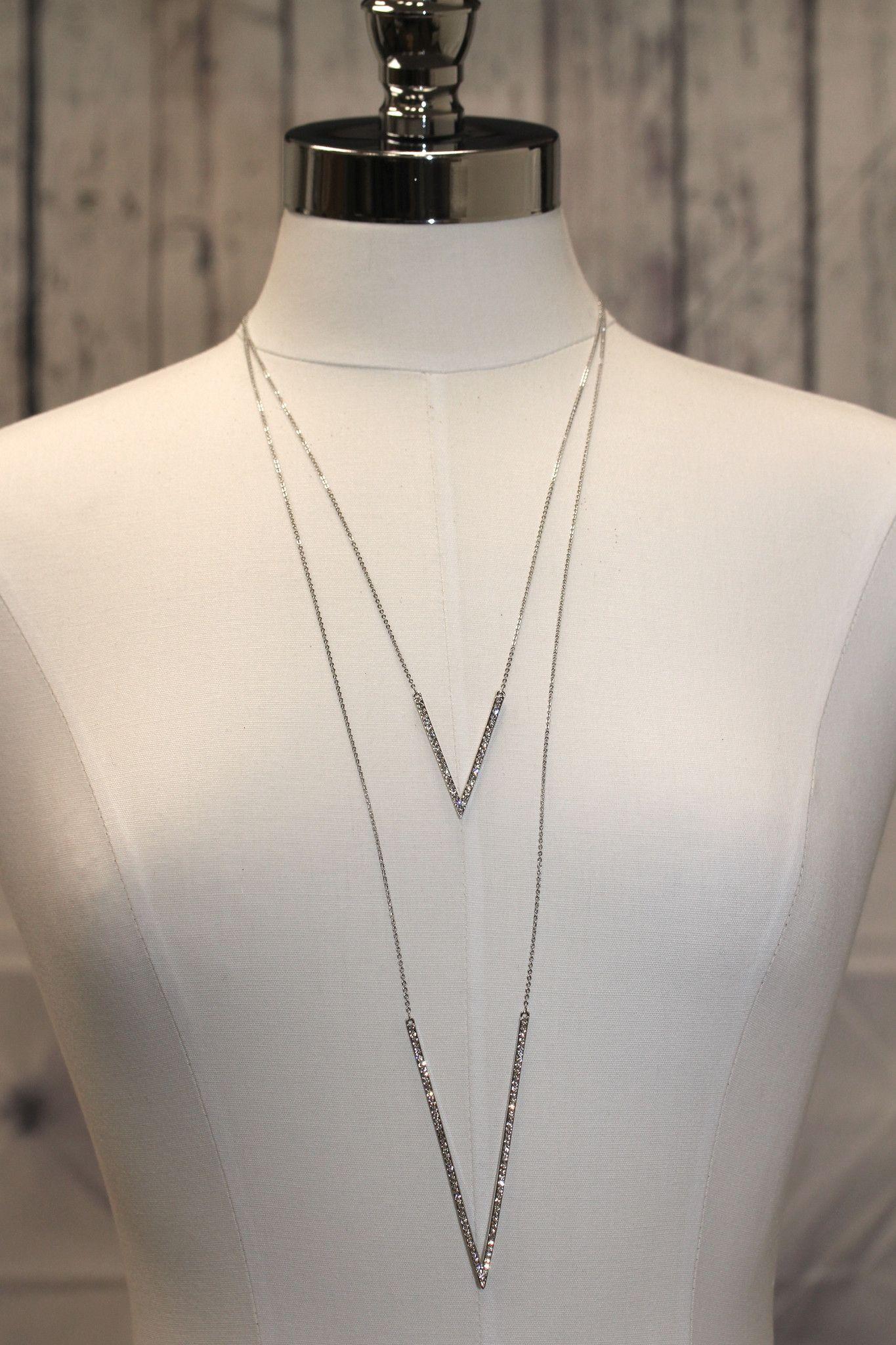 Double Rhinestone V Long Necklace