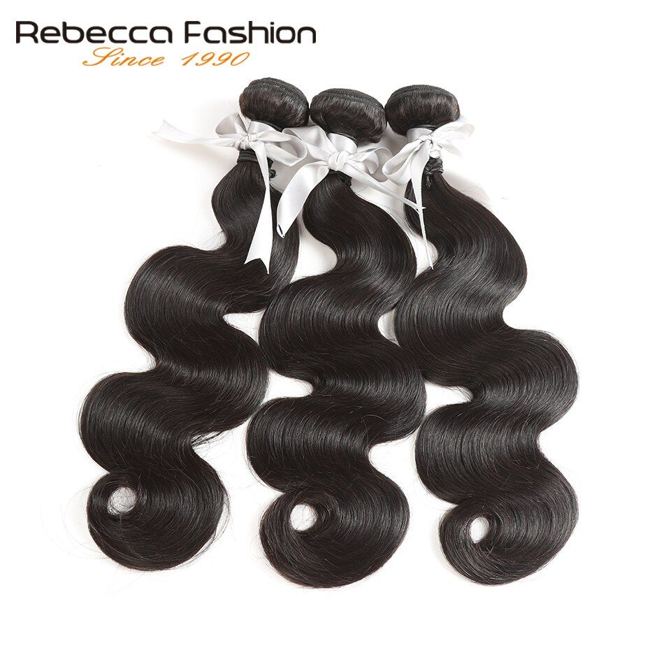Rebecca Brazilian Hair Weave Bundles 100% Human Hair Extensions 3/4 Pcs Double Weft 8-28 Inch Remy Body Wave Bundles