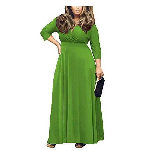 5dcb24e385bc6 POSESHE Women s V-Neck Solid Ruched Waist Plus Party Maxi Dress Size Black  XL at Amazon Women s Clothing store