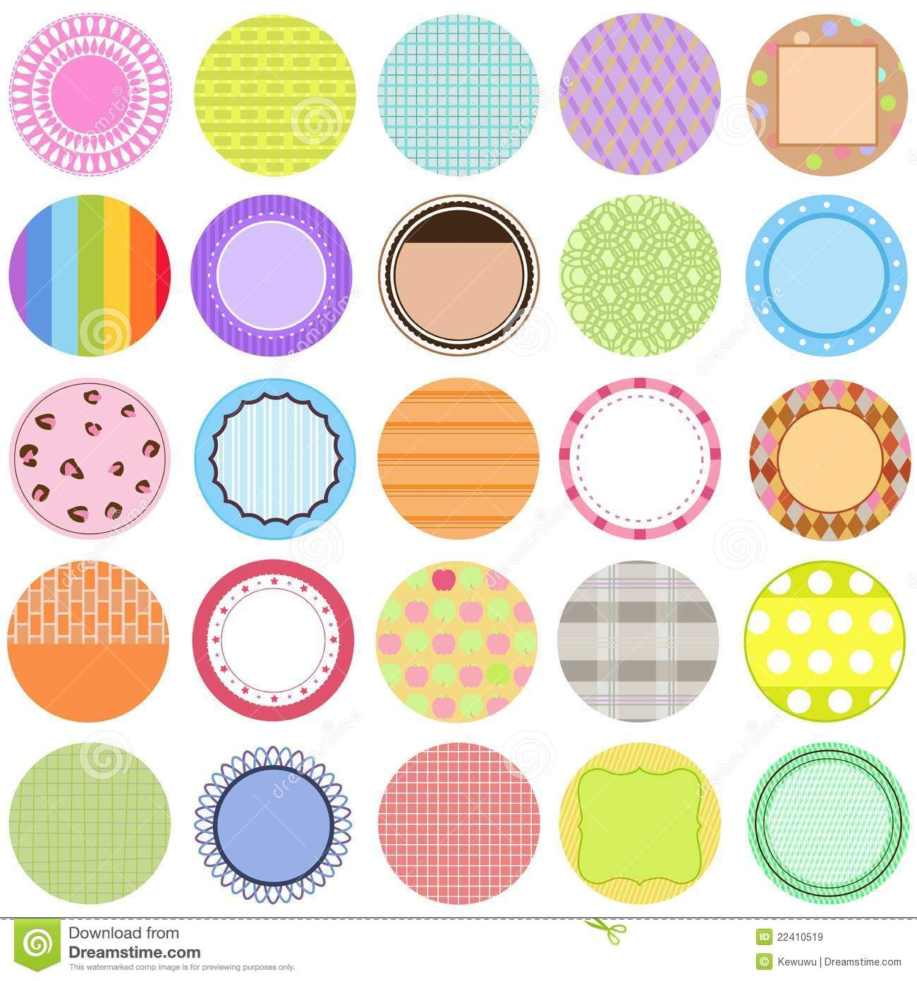 Collection Of Vector Labels In Pastel Color Royalty Free