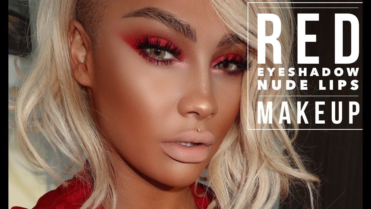 Hot Fire Makeup Tutorial Red Smokey Eye Shadow, Nude Lips -8977