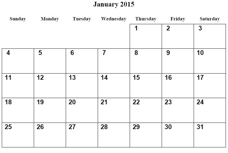 Monthly Calendar Printable 2015 January Calendar 2015 Pinterest