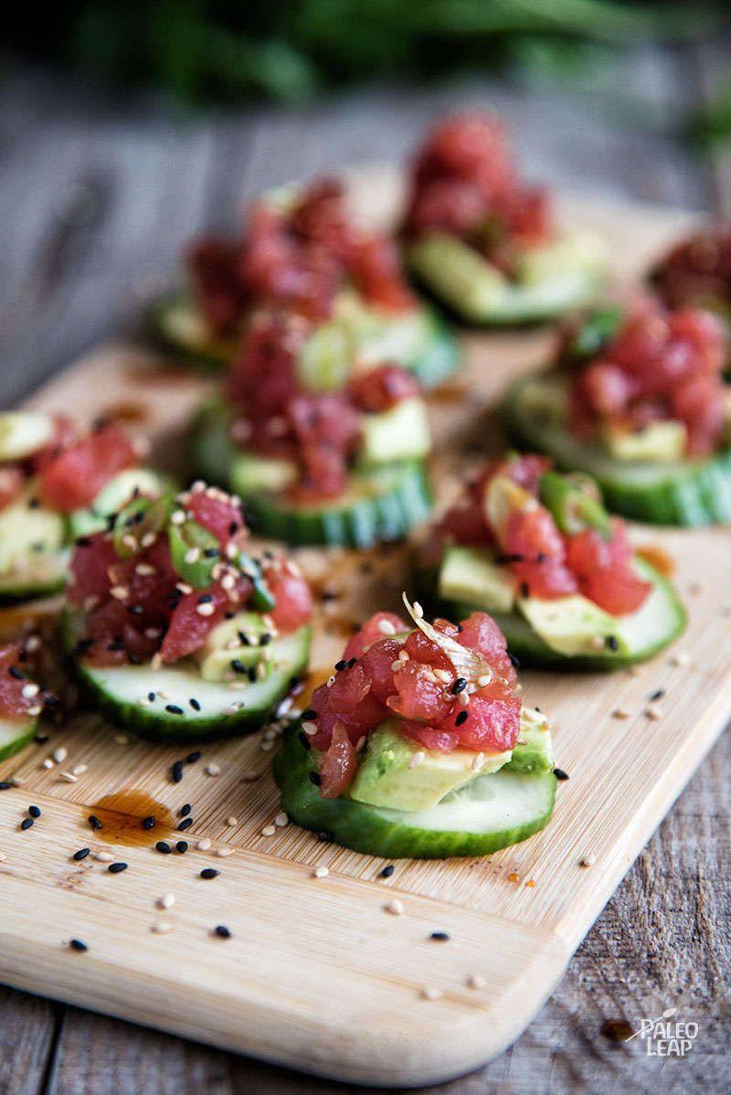 Spicy Tuna And Cucumber Bites Paleo Leap Recipe Appetizer Recipes Mini Appetizers Fancy Appetizers