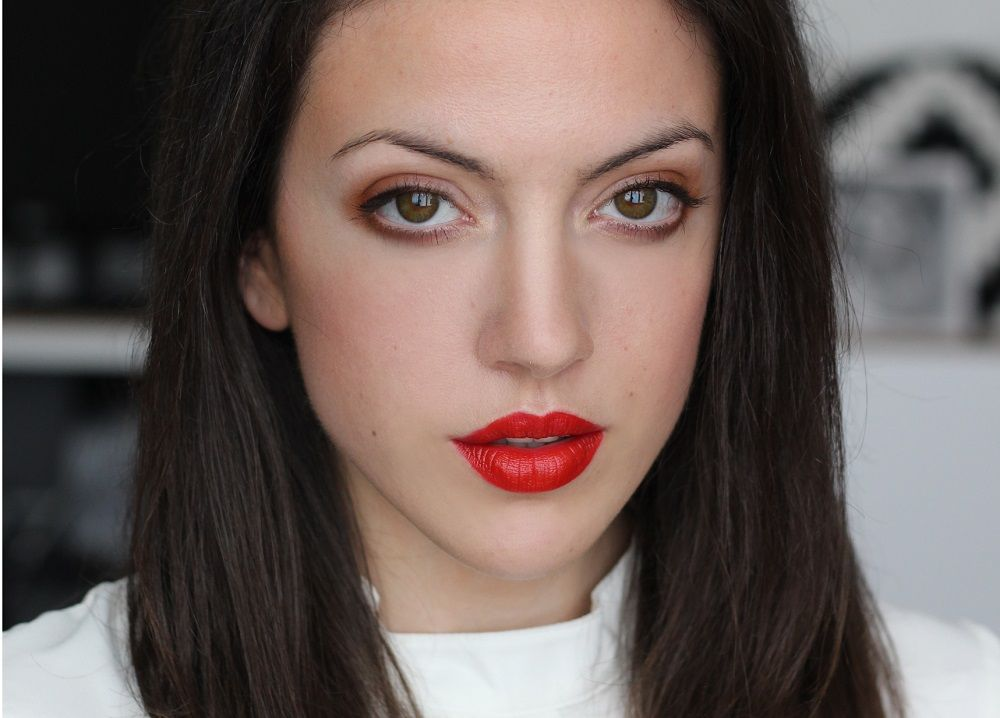 bold orange lips and eyes