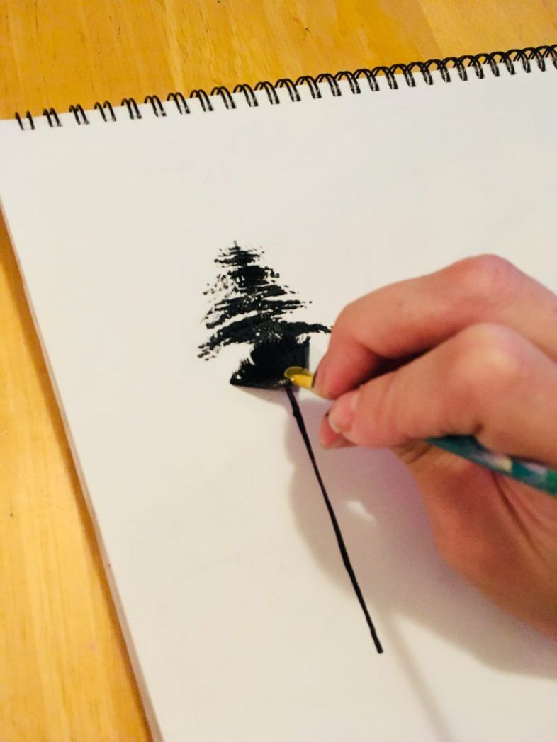 painting trees with a fan brush step by step acrylic - HD 786×1048