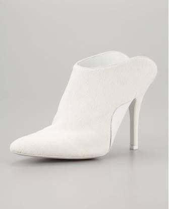 Alex Wang white pony hair mules - all kinda white trash nasty - but awfully elegantly well done - I want, I want.