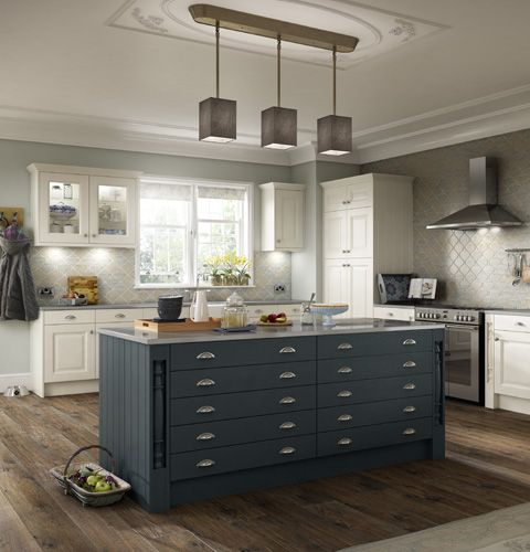 This paintable heritage ash timber kitchen offers a high quality finish in refined colours combine painted doors drawers to achieve a truly classic look