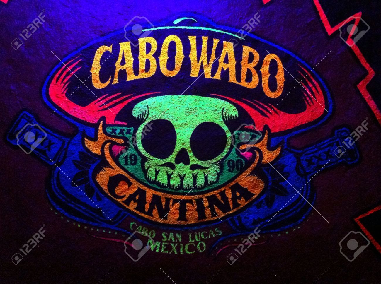 Neon Wall Picture Of A Mexican Skull In Cabo Wabo Cantina At Picture Wall Cabo Mexican Skulls