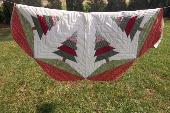 Quilted Handmade Christmas Tree Skirt Large Size 55 By Krissyde