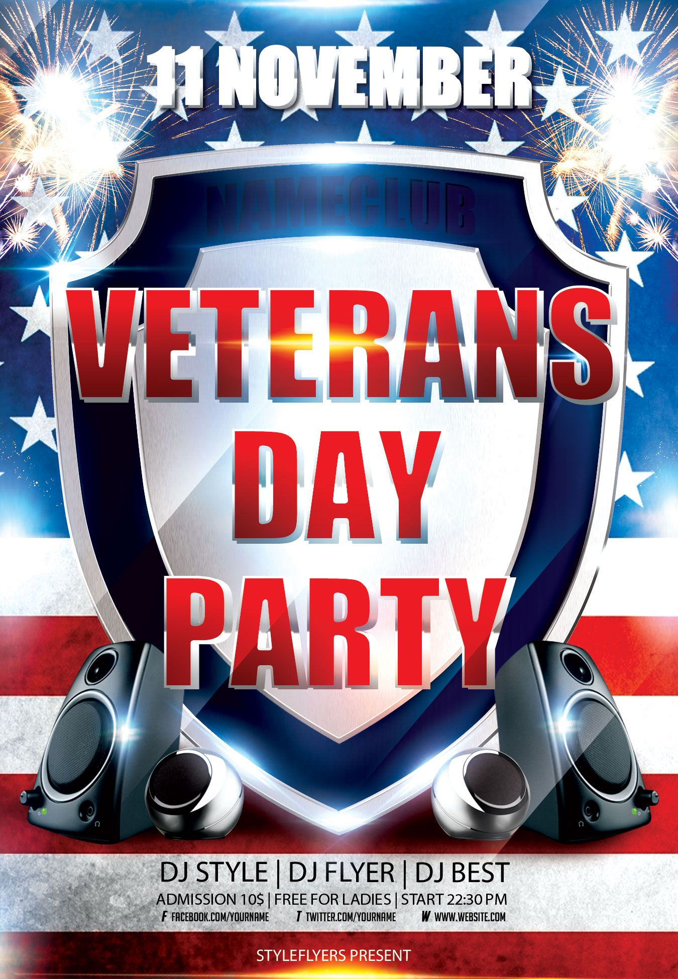 veterans day flyer psd template by styleflyerscom it can be best design for your comunity or club to celebrate lincoln birthday club dance retro