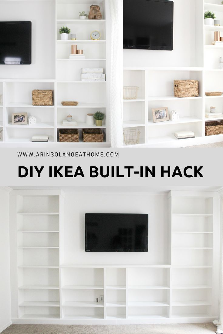IKEA Billy Bookcase Built-in Hack - arinsolangeathome #ikeahacks