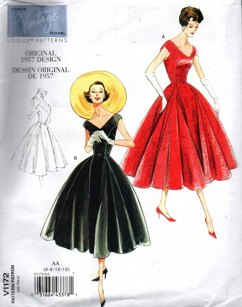 Vogue Sewing Pattern 8788 Misses Pullover Dress 1954 Size 6-14 A5 Uncut