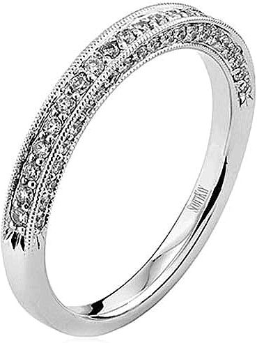 deco art milgrain bands diamond band wedding